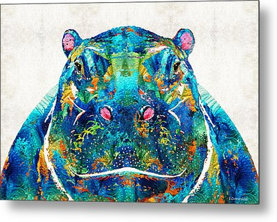 Hippopotamus Art - Happy Hippo - By Sharon Cummings Metal Print by Sharon Cummings