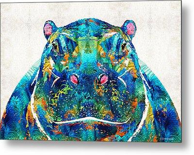 Hippopotamus Art - Happy Hippo - By Sharon Cummings Metal Print