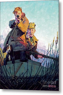 His First Duck Metal Print by Norman Rockwell