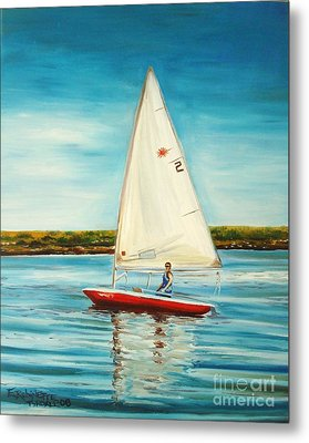 Metal Print featuring the painting His Laser by Elizabeth Robinette Tyndall