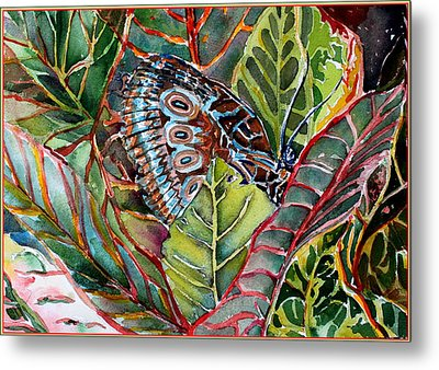 His Monarch In Green And Red Metal Print by Mindy Newman