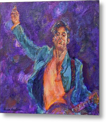 His Purpleness - Prince Tribute Painting - Original Art Metal Print by Quin Sweetman