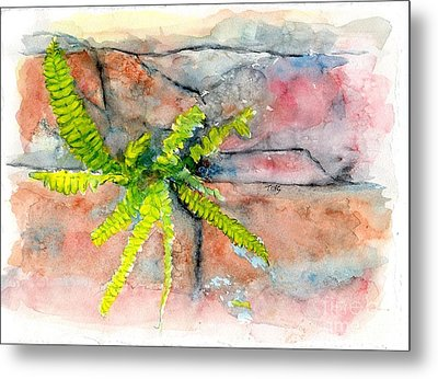 Metal Print featuring the painting Historic Savannah Wall Weed by Doris Blessington