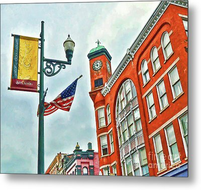 Metal Print featuring the photograph Historic Staunton Virginia - The Clocktower - Art Of The Small Town by Kerri Farley