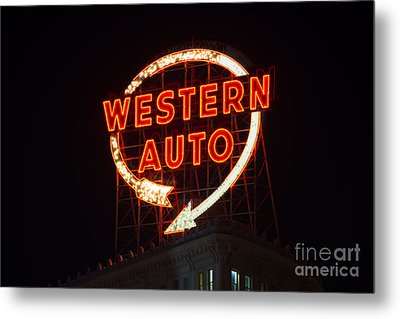 Historic Western Auto Sign Metal Print by Jean Hutchison