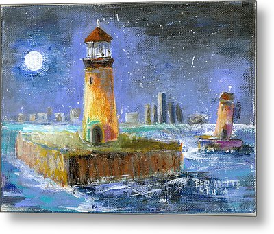 Historical 1859 South Channel Lights Full Moon Metal Print