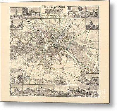 Historical Map Of Berlin, 1838 Metal Print
