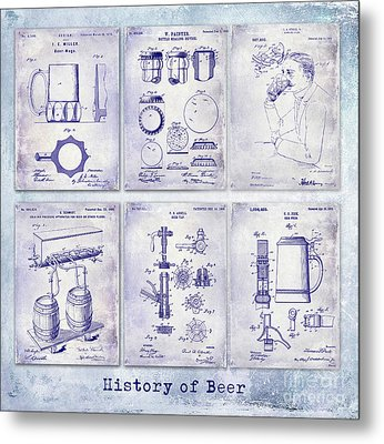History Of Beer Patents Blueprint Metal Print by Jon Neidert