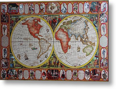 History Of Chess World Map Painted On Leatheder Metal Print by Vali Irina Ciobanu