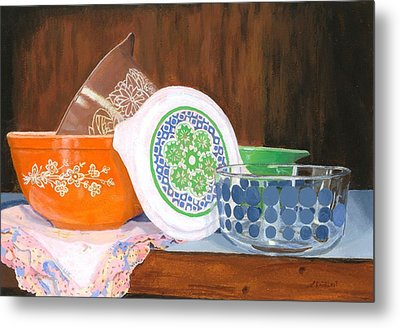 Metal Print featuring the painting History Of Pyrex by Lynne Reichhart