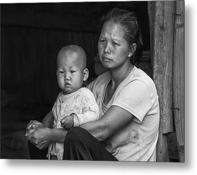 Metal Print featuring the photograph H'mong Mother And Child by Wade Aiken
