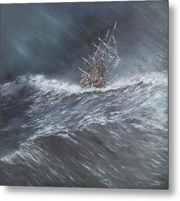 Hms Beagle In A Storm Off Cape Horn Metal Print by Vincent Alexander Booth