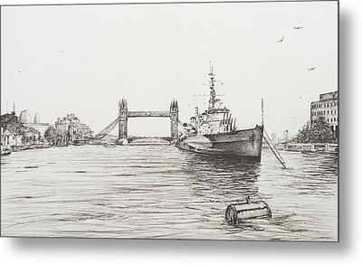 Hms Belfast On The River Thames Metal Print by Vincent Alexander Booth