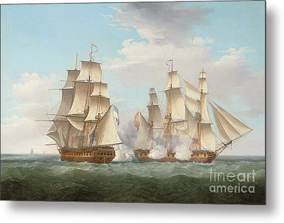 Hms Ethalion In Action With The Spanish Frigate Thetis Off Cape Finisterre Metal Print by Thomas Whitcombe