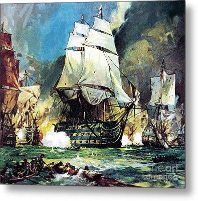 Hms Victory At The Battle Of Trafalgar Metal Print