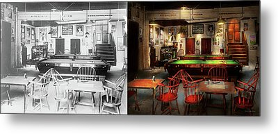 Metal Print featuring the photograph Hobby - Pool - The Billiards Club 1915 - Side By Side by Mike Savad