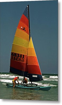Metal Print featuring the photograph Hobie Cat In Surf by Sally Weigand
