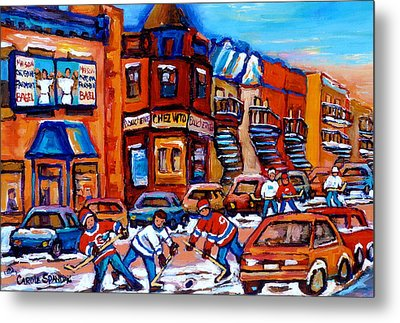 Hockey At Fairmount Bagel Metal Print by Carole Spandau