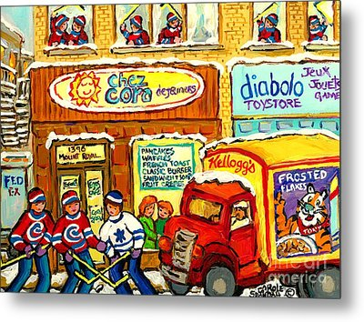 Hockey At Local Toy Shop And Breakfast Diner Winter Scene Delivery Truck Canadian Art Carole Spandau Metal Print