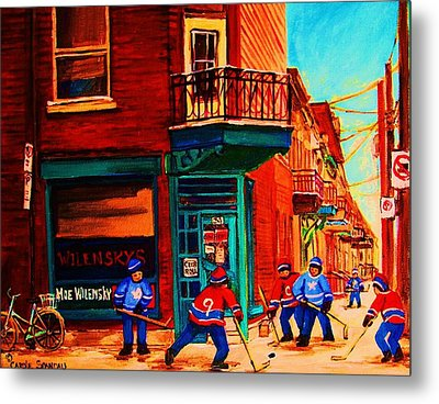 Hockey At Wilenskys Corner Metal Print by Carole Spandau