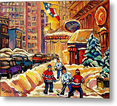 Hockey Fever Hits Montreal Bigtime Metal Print by Carole Spandau