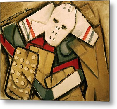 Synthetic Cubism Hockey Goalie Art Print Metal Print