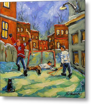 Hockey Kids He Scores Metal Print by Richard T Pranke