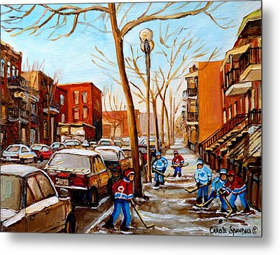Metal Print featuring the painting Hockey On St Urbain Street by Carole Spandau