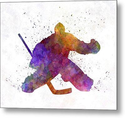 Hockey Porter In Watercolor Metal Print by Pablo Romero
