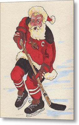 Hockey Santa Metal Print