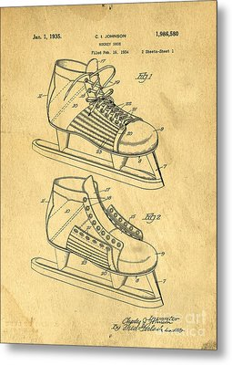 Hockey Skates Patent Art Blueprint Drawing Metal Print by Edward Fielding