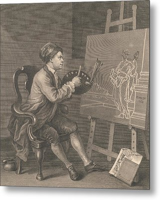 Hogarth Painting The Comic Muse Metal Print by William Hogarth