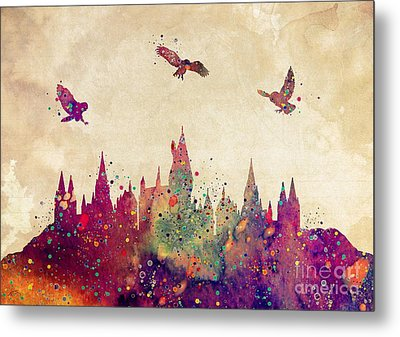 Hogwarts Castle Watercolor Art Print Metal Print by Svetla Tancheva