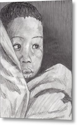 Metal Print featuring the drawing Hold Me Mom by Jean Haynes