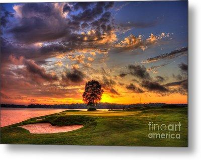Hole In One Golf Sunset  Metal Print by Reid Callaway