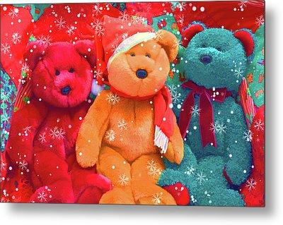 Metal Print featuring the photograph Holiday Bears by Diane Alexander