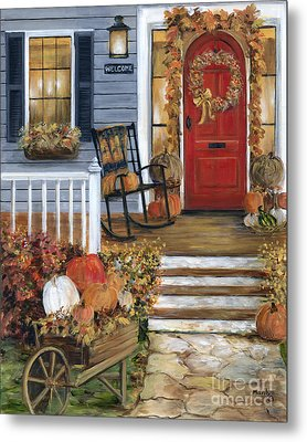 Pumpkin Porch Metal Print by Marilyn Dunlap