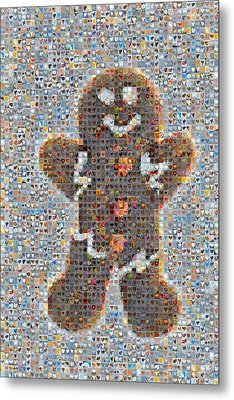 Holiday Hearts Gingerbread Man Metal Print by Boy Sees Hearts