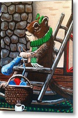 Holiday Knitting Metal Print