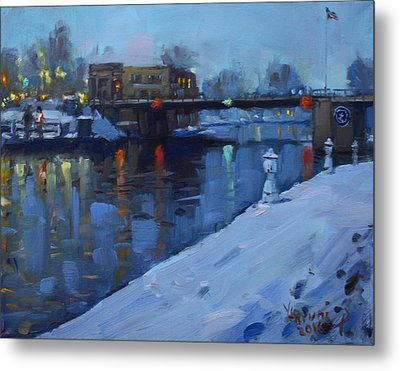 Holiday Lights In Tonawanda Canal  Metal Print by Ylli Haruni