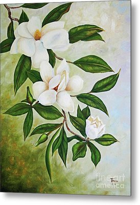 Holiday Magnolias Metal Print