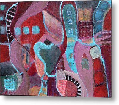 Metal Print featuring the painting Holiday Windows by Susan Stone