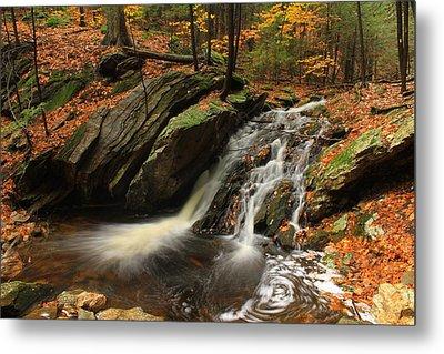 Holland Glen Waterfall In Autumn Metal Print by John Burk