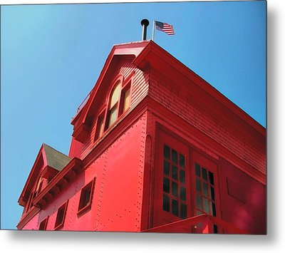 Holland Harbor Light From The Bottom Up Metal Print by Michelle Calkins