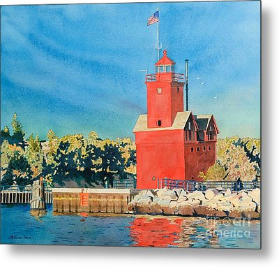 Holland Lighthouse - Big Red Metal Print by LeAnne Sowa