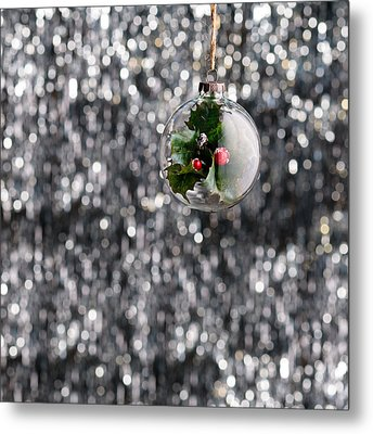 Metal Print featuring the photograph Holly Christmas Bauble  by Ulrich Schade