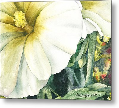 Holly Hock Metal Print by Casey Rasmussen White