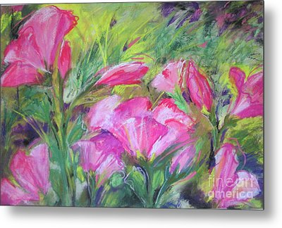 Metal Print featuring the painting Hollyhock Breeze by Susan Herbst