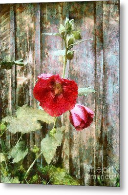 Metal Print featuring the photograph Hollyhock On Weathered Wood - Remember The Days by Janine Riley