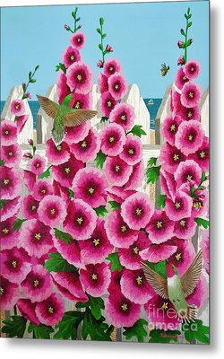 Metal Print featuring the painting Hollyhocks And Humming Birds by Katherine Young-Beck